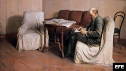 """Pintura """"Lenin en el Palacio Smolny"""" de Isaak Brodski, perteneciente a la exposición """"Comunismo, fábrica de sueños""""."""