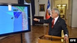 Sebastián Piñera explicando los alcances del fallo de la Corte Internacional de Justicia (CIJ) de la Haya.