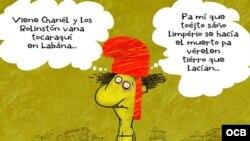 Caricaturas de Garrincha a propósito de la primera presentación del famoso grupo de rock británico en Cuba.