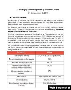 """Página inicial del informe """"Caso Rajoy: contexto general y acciones a tomar"""" elaborado por la embajada en Madrid."""