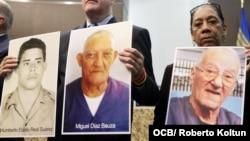 Foto de Humberto del Real (izq.) junto a otras de Miguel Díaz Bauzá y el fallecido Armando Sosa Fortuny.