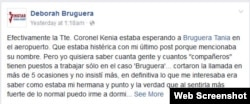 Mensaje en Facebook de la hermana de Deborah Bruguera sobre la llegada de la artista a Cuba.