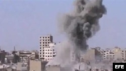Bombardeo en el norte de Siria. Captura de vídeo facilitada por Shaam News network (SNN)/ Archivo