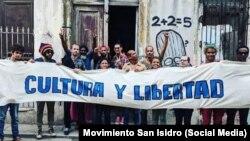 Miembros del movimiento San Isidro, en La Habana.