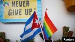 Una bandera cubana y una del orgullo gay en un apartamento en La Habana. REUTERS/Tomas Bravo