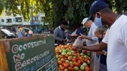 Cubanos compran vegetales en un puesto callejero en La Habana. REUTERS/Stringer