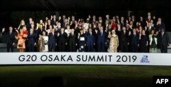 La foto de los invitados a la Cumbre de G-20 en Osaka, Japón.