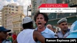 El periodista independiente Boris González Arenas es arrestado en medio de la Marcha por los derechos LGBTI en La Habana, el 11 de mayo de 2019. Foto: AP.