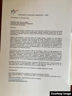 Carta enviada por MCL para intercepcion de Ministro de Exteriores francés por libertad de Cardet