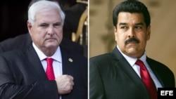 El presidente de Venezuela, Nicolás Maduro (d) y el presidente de Panamá, Ricardo Martinelli