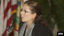 Una fotografía cedida por el Foro de Promoción Democrática Continental muestra a Ofelia Acevedo, viuda del opositor cubano, Oswaldo Payá.