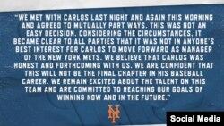 Declaración de la directiva de los Mets sobre Carlos Beltrán.