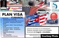 Oferta de la agencia colombiana VacacioneYa para cubanos solicitantes de visas de EEUU.