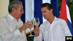 El presidente de México Enrique Peña Nieto y su homólogo cubano, Raúl Castro, brindan tras una rueda de prensa conjunta.
