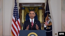 El presidente estadounidense, Barack Obama, habla desde la Casa Blanca en Washington DC (EE.UU.