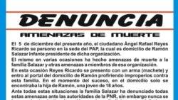 """Partido Autónomo Pinero presenta denuncia tras """"amenazas de muerte"""""""