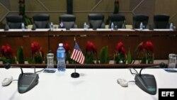 Sala del Palacio de Convenciones de La Habana, donde tuvieron lugar las conversaciones en enero de 2015.