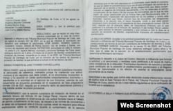 Documentos judiciales publicados por la familia de José Daniel Ferrer.