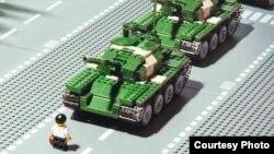 Imágen de la masacre de Tiananmen hecha con Lego.