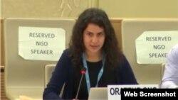 Rosa Salazar, representante de United Nation Watch, durante su intervención sobre Cuba ante el Consejo de Derechos Humanos de Naciones Unidas.
