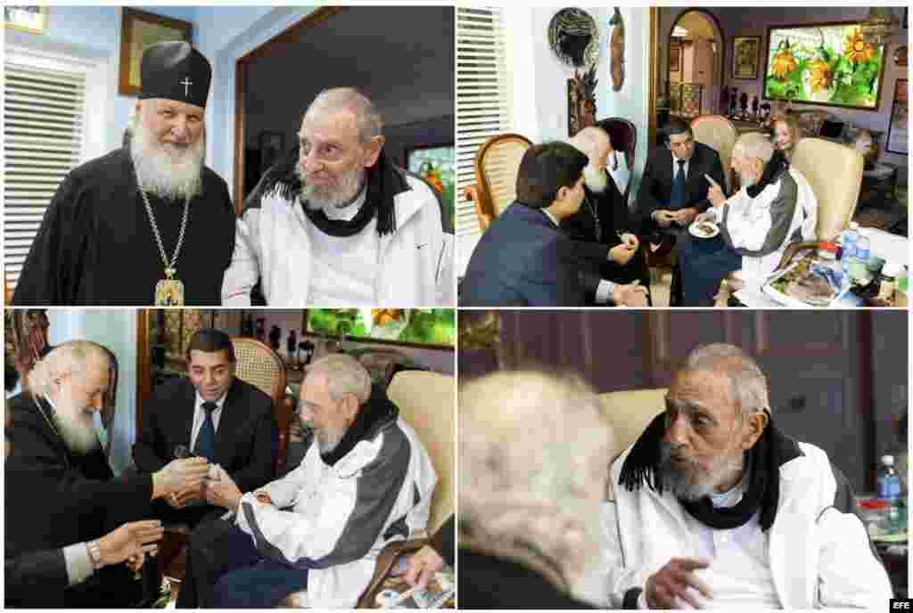 Composición gráfica de varias de las fotos del encuentro de Kiril con Fidel Castro.