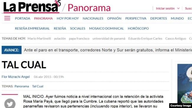 La Prensa De Panamá Critica Retención De Rosa María Payá