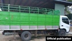En este camión viajaban ocultos los migrantes cubanos. Foto tomada de Senafront Panamá