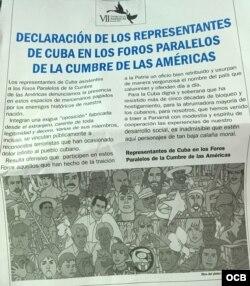 Declaración de representantes de Cuba en foros paralelos.