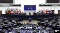 Parlamento de la Unión Europea en plena sesión, diciembre 2020