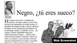 """""""Negro, ¿tú eres sueco?"""", texto de Elías Argudín en el diario """"Tribuna de La Habana""""."""