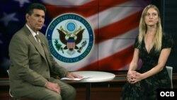 Carrie Filipetti, Subsecretaria Adjunta para Cuba y Venezuela, es entrevistada por el Director de Noticias, Jorge Jauregui, en los estudios de Radio Televisión Martí
