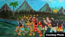 De talle de la obra Procesión Abakuá, óleo de Juan González Pérez (Guantánamo, 1955). Cortesía de Iván García