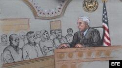 Vista del dibujo que recrea al juez George O'Toole (d) y a los miembros del jurado durante la deliberación del juicio contra Dzhokhar Tsarnaev (8 de abril, 2015).