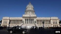 Reparaciones en el Capitolio de La Habana.