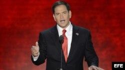 El senador cubanoamericano Marco Rubio pronunció uno de los principales discursos de la convención republicana.