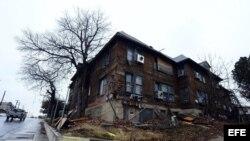El apartamento que ocupó Lee Harvey Oswald, antes de ser demolido el 8 de enero de 2013, en Dallas (Texas).