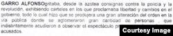Fragmento del informe de la Fiscalía sobre Sonia Garro.