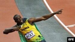 El corredor jamaiquino Usain Bolt tras ganar la prueba de 100 metros en Londres.