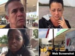Cubanos varados en puente fronterizo de Matamoros, México, esperan poder cruzar a EEUU.