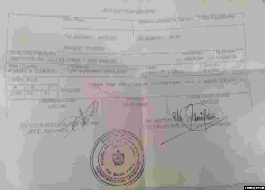 Documento entragado a Yasser Rivero al momento de la excarcelación.