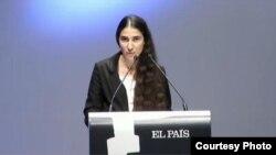 Yoani Sánchez habla en la entrega del Premio Ortega y Gasset.