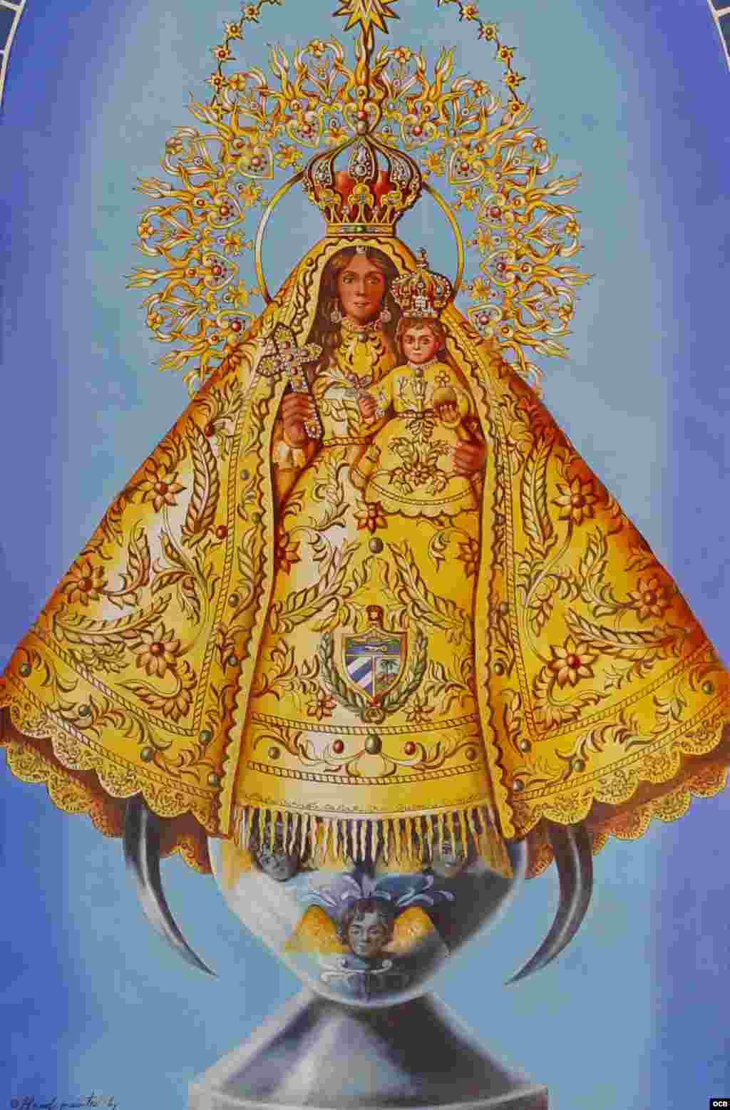 """3- Virgen de la Caridad de Santa Catalina de Siena. Serie """"La plaza de la Virgen"""" (cerámica, 24x32 pulgadas)."""