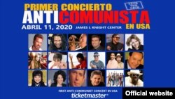 Poster del Primer concierto anticomunista de EEUU. Tomado de James L Knight Center