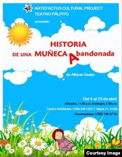 """Cartel promocional de """"Historia de una muñeca abanadonada"""". Cortesía de Artefactus Teatro."""