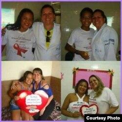 Clara Elisa González, con pacientes brasileños.