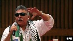 Jesús Santrich, en una rueda de prensa sobre el primer año de la implementación de los acuerdos de paz en Colombia.