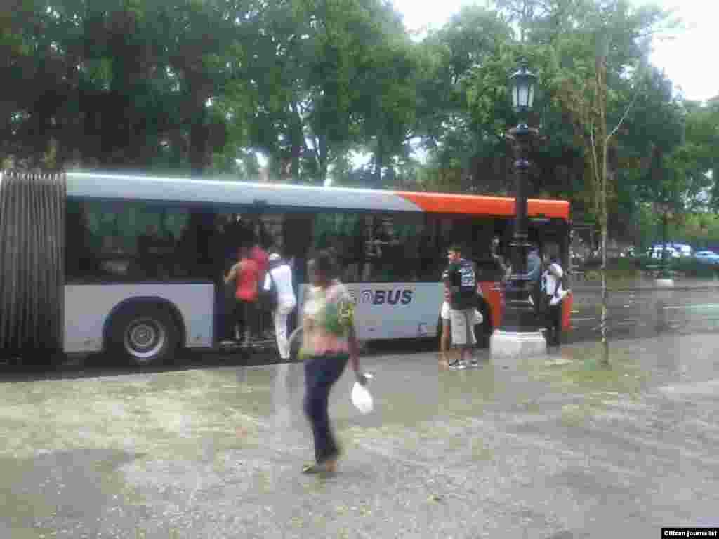 En el céntrico parque capitalino de La Fraternidad Americana, ubicado en el municipio Centro Habana una turba desesperada por la espera, abordó un ómnibus sin pagar el importe establecido. Foto reportaje de José A Sieres.