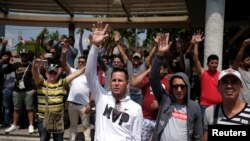 Migrantes cubanos en Tapachula.