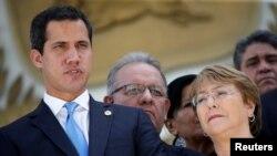 Michelle Bachelet y Juan Guaidó, en Caracas el 21 de junio de 2019 (Reuters).
