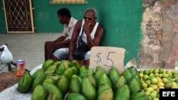 Un trabajador por cuenta propia vende aguacates y limones en una calle de La Habana (Cuba).